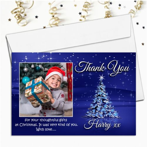 10 Personalised Christmas Tree Thank you PHOTO Cards N21